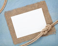 Blank paper card with ship rope Royalty Free Stock Photo