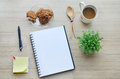 Blank paper coffee break and office tools on the wood table t background top view Stock Photos