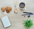 Blank paper coffee break and office tools on the wood table t background top view Stock Photo