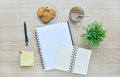 Blank paper and office tools on the wood table top view background Royalty Free Stock Photos