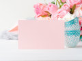 Blank paper pink card Valentine`s day invitation Royalty Free Stock Photo