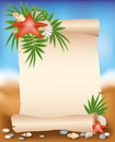 Blank paper scroll on summer background with starf starfish vector Royalty Free Stock Images