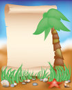 Blank paper scroll on summer background vector illustration Royalty Free Stock Images