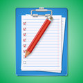 Blank paper sheets with red pencil vector illustra the Royalty Free Stock Image