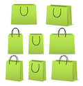Blank paper shopping bags set isolated on white Royalty Free Stock Photo