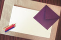 Blank Paper On Table With Envelope And Crayons Royalty Free Stock Photo