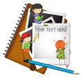Blank paper with three kids reading and writing Royalty Free Stock Photo