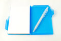 Blank paper and white pen on background Royalty Free Stock Image
