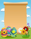 Blank parchment decorated easter eggs illustration featuring a old scroll outdoor next to three big eps file is available Royalty Free Stock Photos