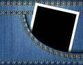 Blank photo frame in blue jeans pocket Stock Images