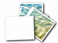 Blank photo frame and sea waves on white background Royalty Free Stock Image