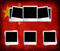 Blank photo frames on flag of china Royalty Free Stock Photo