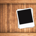 Blank photo frames and free space on left side brown wood texture background Royalty Free Stock Image