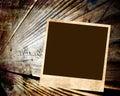 Blank photo on wood background