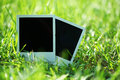 Blank photos in grass Royalty Free Stock Photo