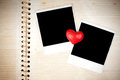 Blank photos and heart Stock Photography