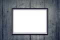 Blank picture frame on art gallery concrete wall Royalty Free Stock Photo