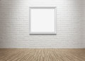 Blank picture frame at the wall