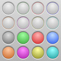 Blank plastic sunk buttons set of spherical on light gray background variations included well organized layer color swatch and Royalty Free Stock Photo