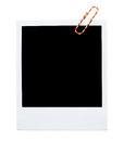 Blank polaroid frame instant photo with paperclip isolated on white Royalty Free Stock Images
