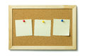 Blank post it notes on a cork notice board Royalty Free Stock Photo