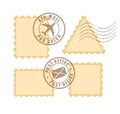 Blank postage stamp stamps set isolated on white background Royalty Free Stock Photos