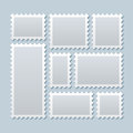 Blank postage stamps in different size. Vector template Royalty Free Stock Photo