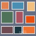 Blank postage stamps template set on dark background. Rectangle and square postage stamps for envelopes, postcards. Vector illustr Royalty Free Stock Photo