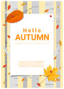 Blank poster on autumn theme background