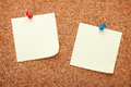 Blank postit notes on cork notice board Stock Photo