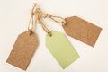 Blank price tags or labels in light green and brown Royalty Free Stock Photo