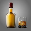 Blank realistic bottle with glass of whiskey and ice isolated on grey background place for your design branding Royalty Free Stock Image