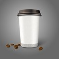 Blank realistic vector paper coffee cup with beans