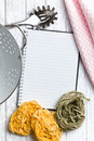 Blank recipe book with pasta tagliatelle the Royalty Free Stock Photography