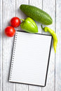 Blank recipe book with vegetable Royalty Free Stock Photography
