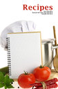 Blank recipe book and vegetables Stock Images