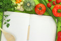 Blank recipe book with vegetables Stock Photos