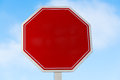Blank Red Stop Sign With A Sky...