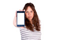 Blank screen female holding cell phone with selective focus on the Royalty Free Stock Images