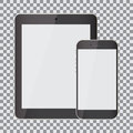 Blank screen. Set of realistic tablet and smartphone on a transparent background