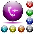 Set of color Incoming phone call glass sphere buttons Royalty Free Stock Photo
