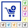 Set of square framed Add to cart flat icons Royalty Free Stock Photo