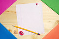 Blank sheet of school notebook pencil and sharpener Royalty Free Stock Photo