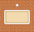 Blank sign at a brick wall Royalty Free Stock Photos