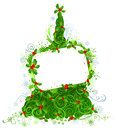 Blank sign on Christmas tree. Royalty Free Stock Photo