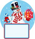 Blank sign. Snowman with gift Royalty Free Stock Photos