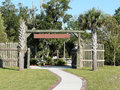 Blank sign on stockade gate wooden style at fort fanning historic park florida Royalty Free Stock Photo