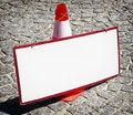 Blank sign and a traffic cone nice background with space for text Stock Photography