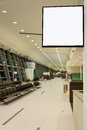 Blank signboard at airport white in boarding room terminal Royalty Free Stock Images
