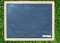 Blank slightly dirty blackboard chalkboard with a wood Royalty Free Stock Photos